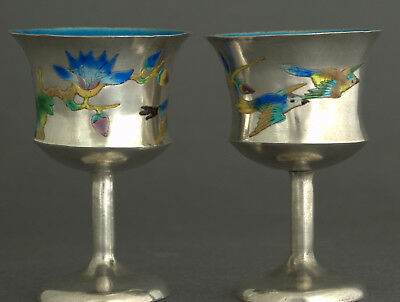 antique solid silver chinese enamel signed pair of goblets - rare