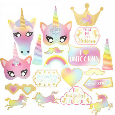 30 Pcs Rainbow Unicorn Pegasus Photo Booth Prop Kit Camera Props Xmas Decor BBT