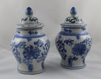 Set de 2 Tibor's porcelain glazed asian painted to hand 22cm height total