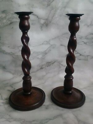 Antique Vintage Oak Barley Twist Candlesticks Brass Cups Wooden Candles