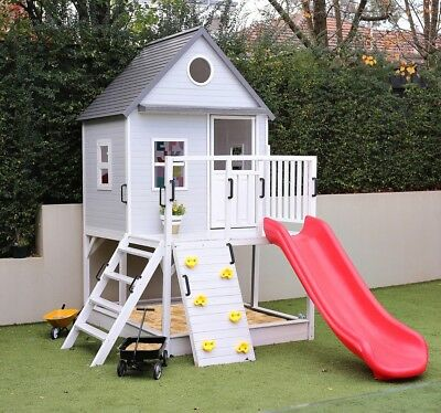 Hip Kids EMERSON Cubby House w/Sandpit and Slide Backyard Large Wooden For Kids