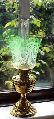Victorian Brass Oil Lamp With Excellent Green Shade