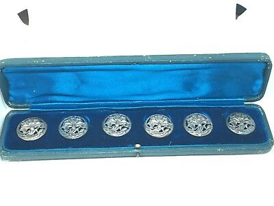 Set Of Six Edwardian Silver Buttons In Original Fitted Case - Birmingham 1902 -