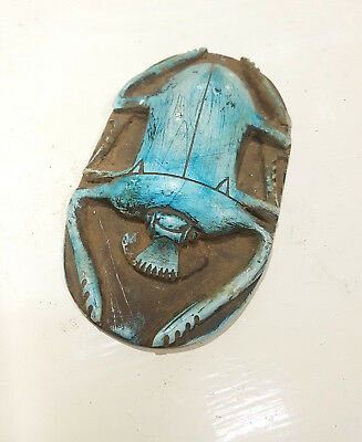Ancient Egyptian Antique Large Scarab Beetle Amulet Carved Stone BC