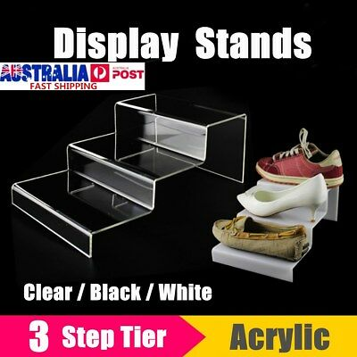3 Tier Step Acrylic Display Riser Stand Shoes Jewellery Retail Counter Showcase