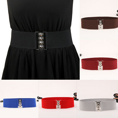 "HOT NEW Women Cinch Buckle 3"" Wide Stretch Elastic Waist Belt Corset Waistband"