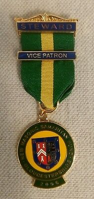 Masonic Jewel - Gloucestershire 2006 Festival Nmsf Steward With Vice Patron Bar