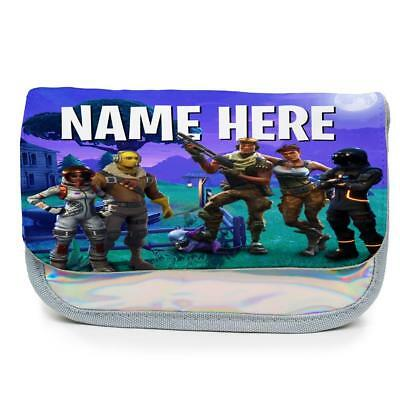 Personalised Pencil Case FORTNITE Magic Holographic Shiny Silver Girls KS80