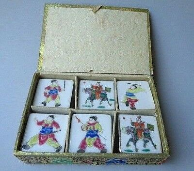 Antique Incense Miniature Porcelain Box Set of 6 with Fabric Covered Box Chinese