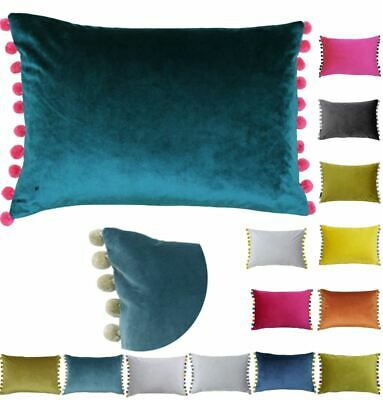 Faux Velvet Cushion Cover With Pom Poms Scatter Oblong Boudoir 35x50cm Paoletti