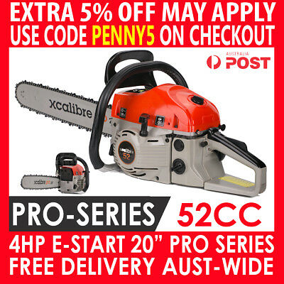 "2018 Xcalibre 52Cc Petrol Commercial Chainsaw 20"" Bar Log E-Start Tree Pruning"
