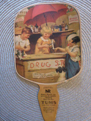 Vintage Cardboard Fan Advertising Tums for the Tummy & Nature's Remedy Laxative