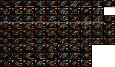 World of Tanks, WOT EU account, 131 Tanks (88 Premium), Wert ~ 1.600 €, 4xT10,