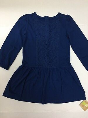 NWT Crazy 8 Girls Blue Long Sleeve Lace Tunic Or Dress - Sz 4T