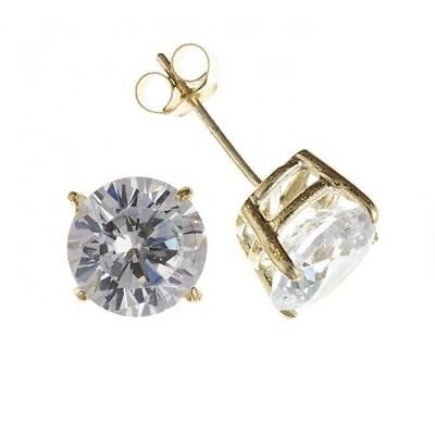 Diamonique CZ Solitaire Round Stud Earrings 14K Yellow Gold Clad Silver All Size