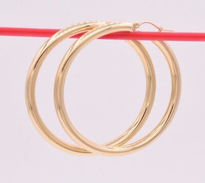 """2/"""" 5mm X 50mm Bold Thick Large Plain Shiny Hoop Earrings REAL 10K Yellow Gold"""