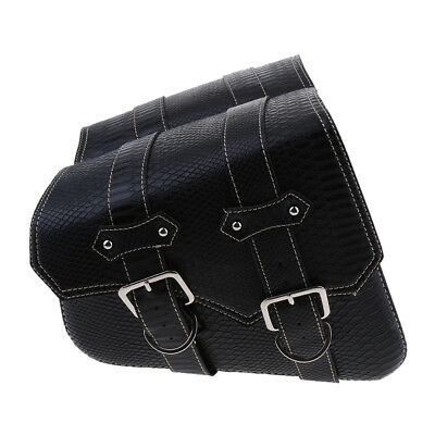 Motorcycle Leather Saddle Bag Storage Pouch Left&Right Trim Alligator Emboss