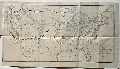 Vintage 1869 Map The Great Railroad Routes to the Pacific and their Connections