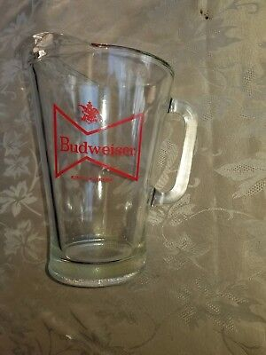 Budweiser Beer pitcher from the 70's, glass 11 inch tall, beauty