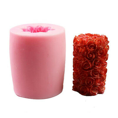 Random Color 3D Cylinder Rose Flower Silicone Mold Soap Crayon, Wax, Plaster
