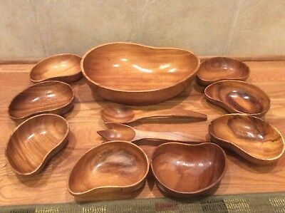 Vintage Monkey Pod Wood 11 Piece Salad Bowl Set Philippines