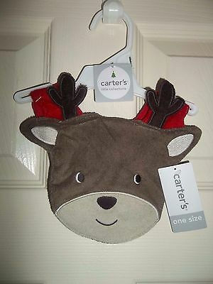 nwt-os-Carter's Little Collections-Reindeer Bib-Christmas-Gift-baby-boy-girl