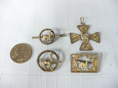 "Y43) 4 Pcs. of ""Silver"" Jewelry with Alpaca/Llama, 3 Different Pins & 1 Pendant"