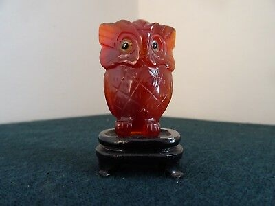 Chinese Orange Jade Hand Carved 2 Inch Tall Owl Figurine Ornament C/w Stand
