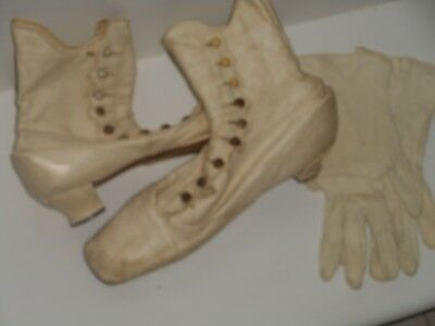 Wedding Edwardian Calf Skin Button French Heal SHOES & GLOVES