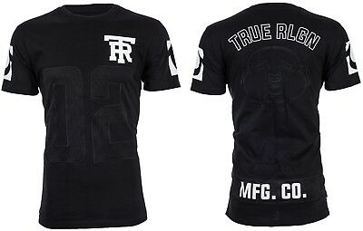 TRUE RELIGION Mens T-Shirt MESH FOOTBALL with EMBROIDERED BUDDHA Black $99 NWT
