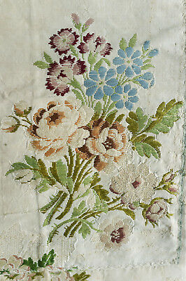 Antique fragment 18th century  lampas brocaded silk from France - posies
