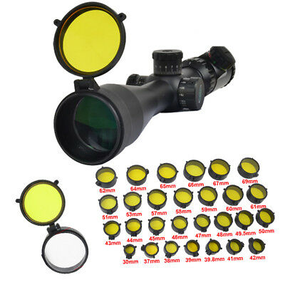 Rifle Scope Lens Cover Flip Up Quick Spring Protector Cap Yellow Lens Lip