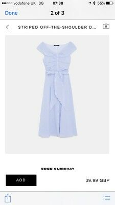 Zara Blue & White stripe Midi  Off The Shoulder Dress BNWT SOLD OUT extra small