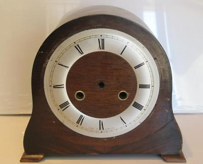 Vintage Smiths Enfield Wooden Mantle Clock Case & Chapter Ring - Spares Parts