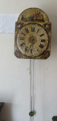 Antique c1850 Twin Weight Driven German Black Forest Time & Strike Wall Clock
