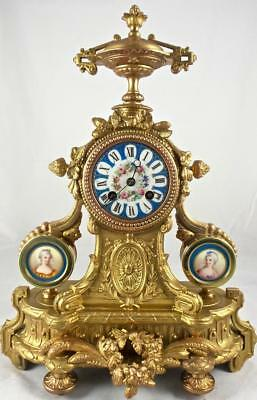 Antique French 19th c Japy Freres Mantle Clock with Beautiful Sevres Porcelain