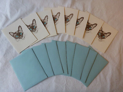 Set of 8 Siamese Cat Stationery Notecards/Envelopes Cross Eyed Cat