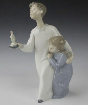 Retired LLADRO Spain Young Boy & Girl With Candle 4874 Porcelain Figurine NR BMF