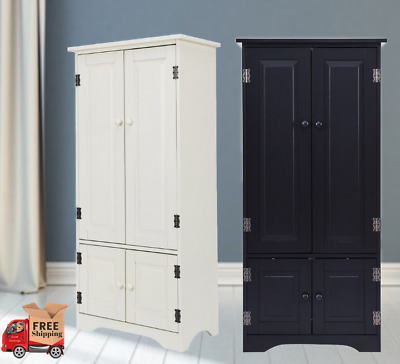 a88ffb7f4f38 Tall Pantry Wood Kitchen Cabinet with Big Versatile Storage Removable  Shelves