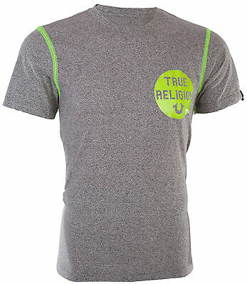 5f07432885d TRUE RELIGION Mens T-Shirt HEATHER CREW Washed Grey Neon Stitching  95 Jeans  NWT