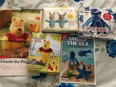 Job Lot 3 X Toy Knitting Kits Winnie The Pooh Bear Whale Octopus Star Bunnies