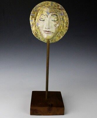 Signed Brian Cinpka Studio Hand Crafted Painted Ceramic Face Wood Wooden Stand