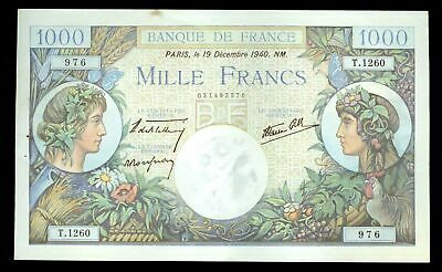 1940 Bank Of France 1000 Francs Note Choice Au Condition