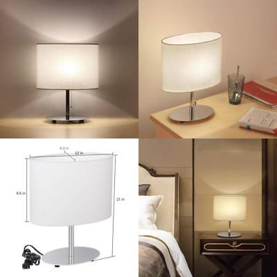 Bedside Table Lamps Minimalist Desk Lamp With Metal Base Fabric Shade Oval Us