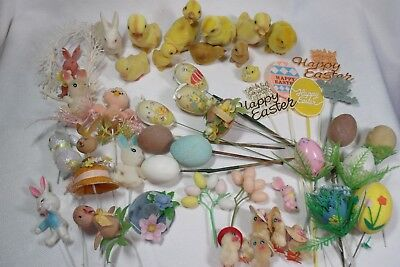 Large Vintage Easter Craft Items Lot Bunnies, Eggs, Rabbits, Miniatures, Picks