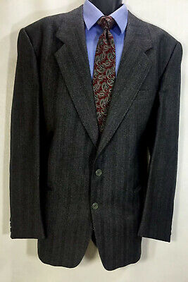 Lanerossi Men's 43L Blazer Gray Striped Herringbone Italy 18 Carat Collection