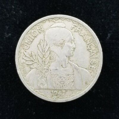 French Indochina 1 Piastre 1947 Reeded Edge
