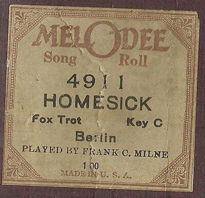 Homesick (Irving Berlin) played by Frank Milne MelODee 4911 Piano Roll Original