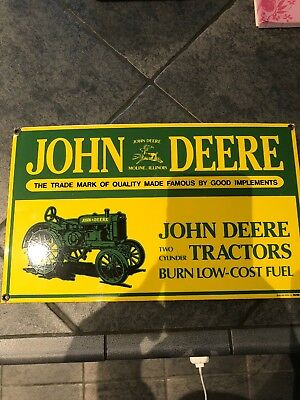 "Vtg John Deere Advertising Sign,heavy Porcelain, 1995 By Ande Rooney Inc 9"" X 15"
