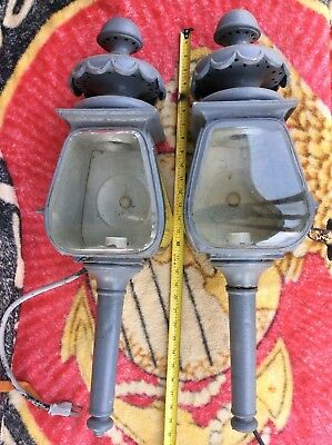 A pair of antique carriage Hearse Coach car lamps, stagecoach lights lanterns